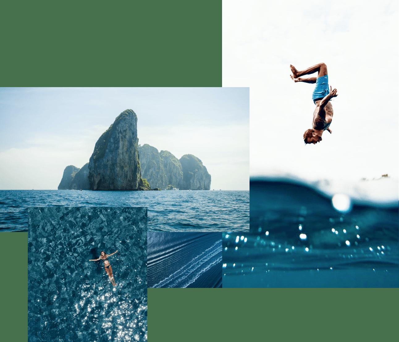 un jeune homme plonge en mer depuis le pont de son tender yacht